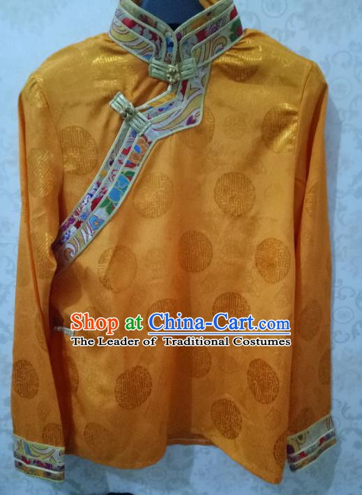 Traditional Chinese Zang Nationality Costume Yellow Shirt, Tibetan Ethnic Minority Coat for Men