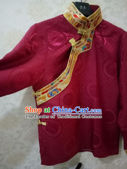 Traditional Chinese Zang Nationality Costume Wine Red Shirt, Tibetan Ethnic Minority Coat for Men