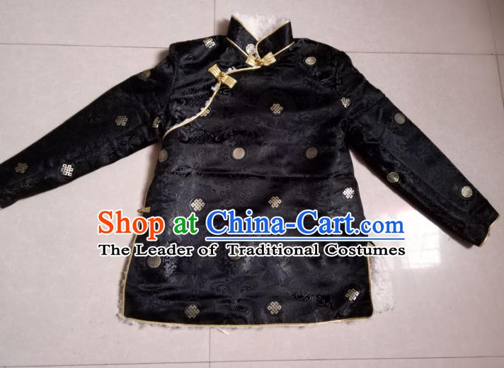 Traditional Chinese Zang Nationality Costume Cotton-padded Jacket, Tibetan Ethnic Minority Coat for Men