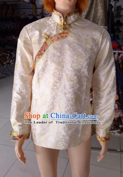 Traditional Chinese Zang Nationality Costume White Shirts, Tibetan Ethnic Minority Coat for Men