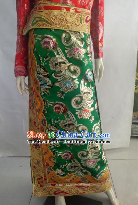 Chinese Tibetan Nationality Costume Green Tibetan Robe, Traditional Zang Ethnic Minority Clothing for Women