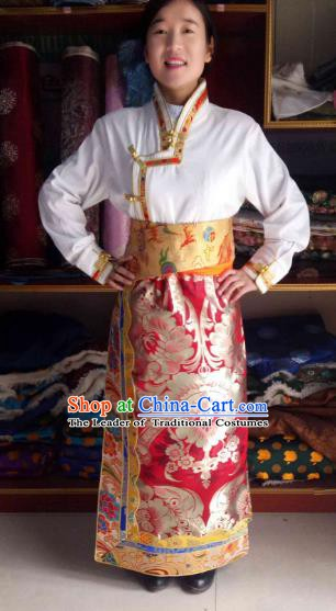 Chinese Tibetan Nationality Costume Red Skirt, Traditional Zang Ethnic Minority Clothing for Women