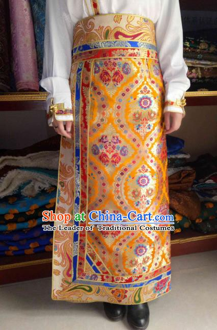Chinese Tibetan Nationality Costume Yellow Skirt, Traditional Zang Ethnic Minority Clothing for Women