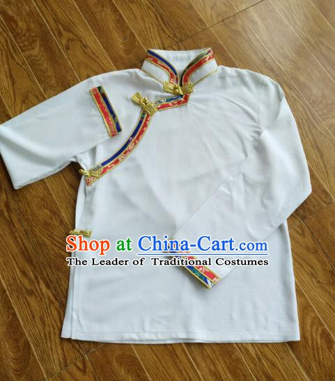 Traditional Chinese Zang Nationality Costume, Tibetan Ethnic Minority White Shirt for Men