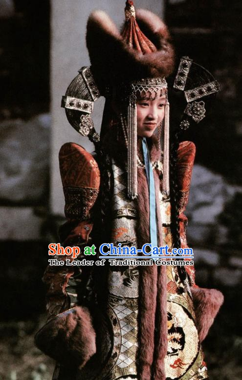 Chinese Ancient Qing Dynasty Mongolian Empress Embroidered Dress Replica Costumes for Women
