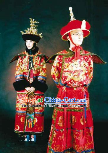 Chinese Late Qing Dynasty Last Emperor and Empress Replica Costumes Traditional Wedding Historical Costume Complete Set