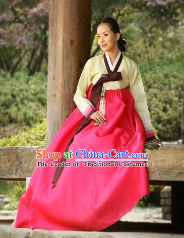 Korean Traditional Bride Hanbok Clothing Yellow Blouse and Red Skirt Korean Fashion Apparel Costumes for Women
