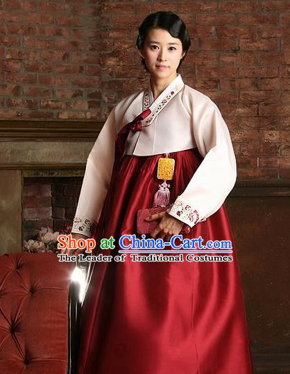 Korean Traditional Bride Hanbok Clothing Pink Blouse and Red Skirt Korean Fashion Apparel Costumes for Women