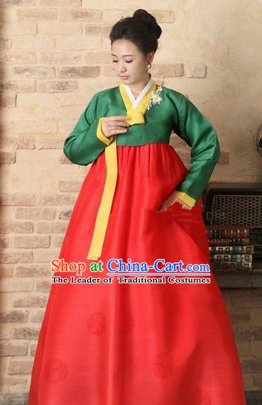 Korean Traditional Bride Hanbok Clothing Green Blouse and Red Skirt Korean Fashion Apparel Costumes for Women