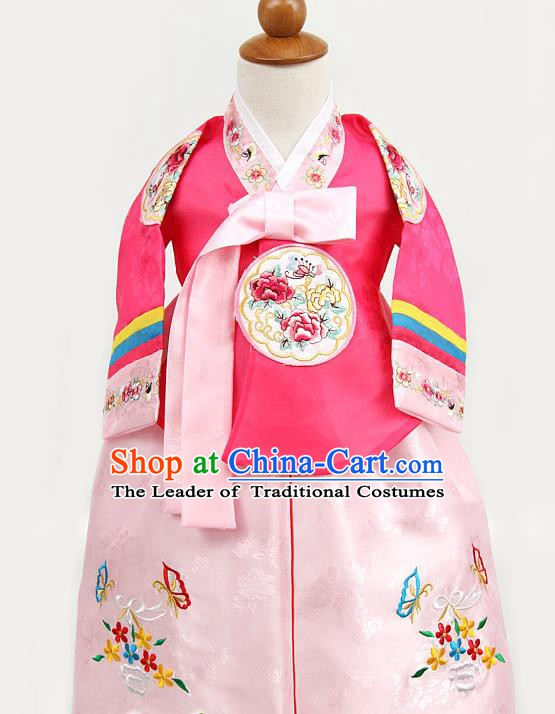 Korean Traditional Hanbok Clothing Korean Children Rosy Fashion Apparel Hanbok Costumes for Kids