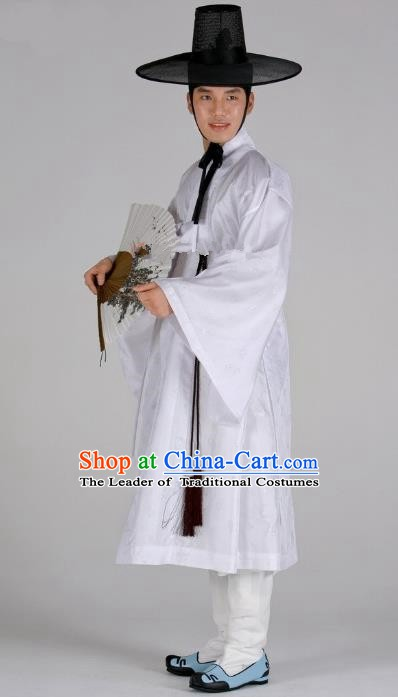 Asian Korean Traditional Palace White Hanbok Clothing Ancient Korean Costume for Men