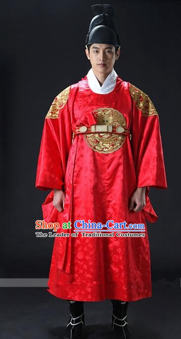 Asian Korean Traditional Palace Emperor Hanbok Clothing Ancient Korean King Red Robe Costume for Men