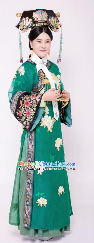 Chinese Ancient Qing Dynasty Imperial Consort Hui of Kangxi Embroidered Replica Costumes for Women