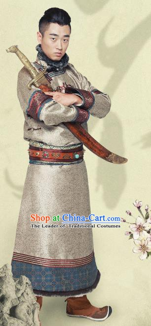 Ancient Chinese Qing Dynasty Mongolian Prince Warrior Replica Costumes for Men