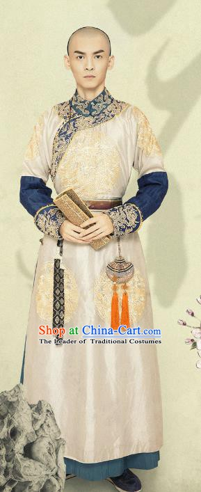 Ancient Chinese Qing Dynasty Manchu Eight Prince Yinsi Replica Costumes for Men