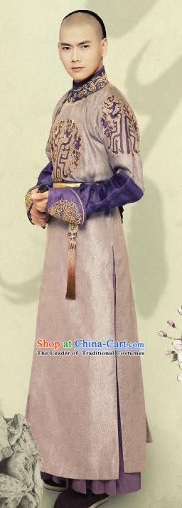 Chinese Ancient Qing Dynasty Manchu Three Prince Yinzhi Embroidered Replica Costumes for Men