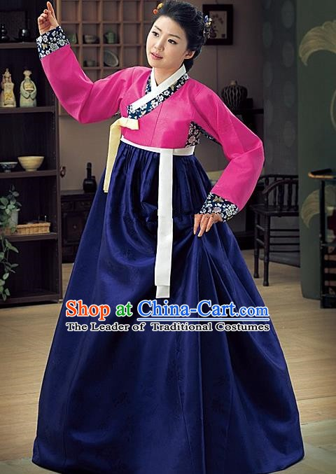 Korean Traditional Palace Garment Hanbok Fashion Apparel Costume Bride Navy Dress for Women