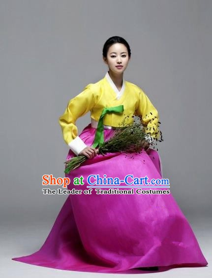 Korean Traditional Palace Garment Hanbok Fashion Apparel Costume Bride Yellow Blouse and Rosy Dress for Women