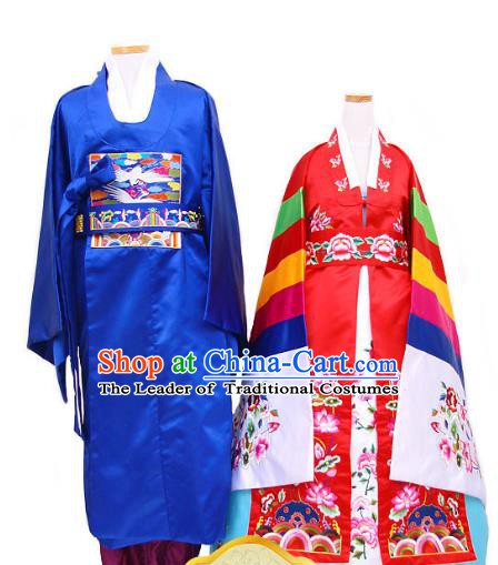 Korean Traditional Garment Palace Hanbok Fashion Apparel Costumes Bride and Bridegroom Wedding Clothing