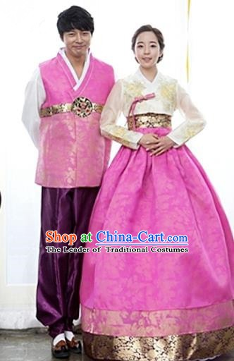 Korean Traditional Garment Palace Hanbok Fashion Apparel Costumes Bride and Bridegroom Clothing