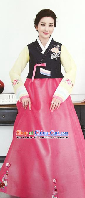 Korean Traditional Garment Palace Hanbok Black Blouse and Pink Dress Fashion Apparel Bride Costumes for Women