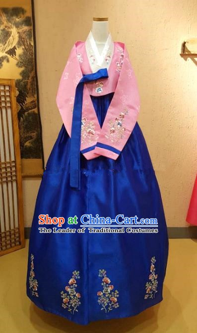 Korean Traditional Garment Palace Hanbok Pink Blouse and Royalblue Dress Fashion Apparel Bride Costumes for Women