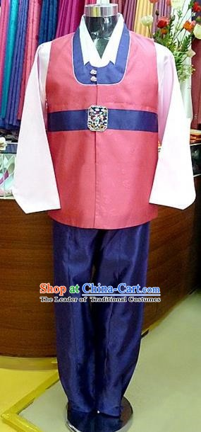 Asian Korean Traditional Hanbok Clothing Ancient Korean Pink Shirt and Navy Pants Costume for Men
