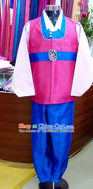 Asian Korean Traditional Hanbok Clothing Ancient Korean Pink Shirt and Royalblue Pants Costume for Men