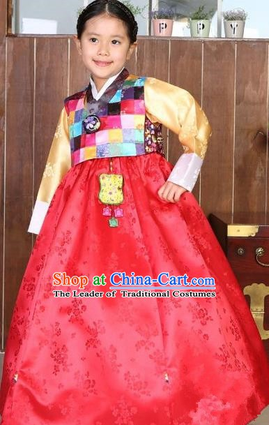 Korean Traditional Hanbok Korea Children Blouse and Red Dress Fashion Apparel Hanbok Costumes for Kids
