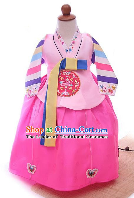 Korean Traditional Hanbok Korea Children Embroidered Blouse and Pink Dress Fashion Apparel Hanbok Costumes for Kids