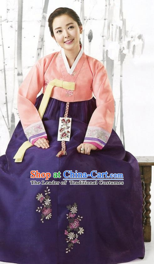 Korean Traditional Garment Palace Hanbok Orange Blouse and Purple Dress Fashion Apparel Bride Costumes for Women