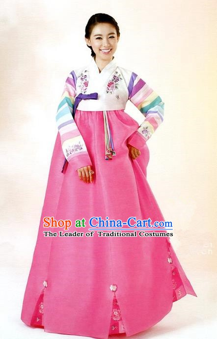 Korean Traditional Garment Palace Hanbok White Blouse and Pink Dress Fashion Apparel Bride Costumes for Women