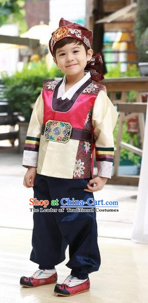 Korean Traditional Hanbok Clothing Korean Boys Hanbok Costumes Red Shirt and Navy Pants for Kids