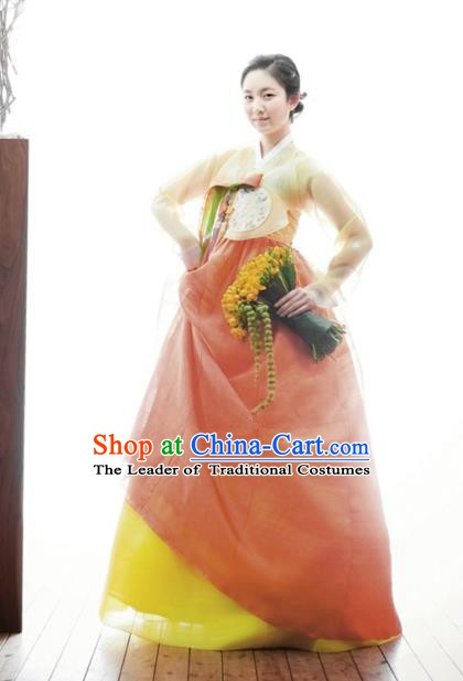 Korean Traditional Garment Palace Hanbok Orange Dress Fashion Apparel Bride Costumes for Women