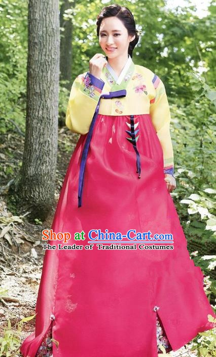 Korean Traditional Handmade Palace Hanbok Yellow Blouse and Rosy Dress Fashion Apparel Bride Costumes for Women