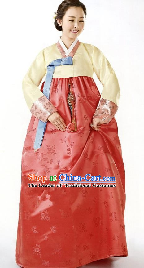 Korean Traditional Handmade Palace Hanbok Yellow Blouse and Red Dress Fashion Apparel Bride Costumes for Women