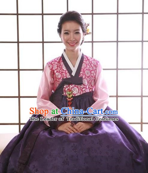 Korean Traditional Handmade Palace Hanbok Blouse and Purple Dress Fashion Apparel Bride Costumes for Women