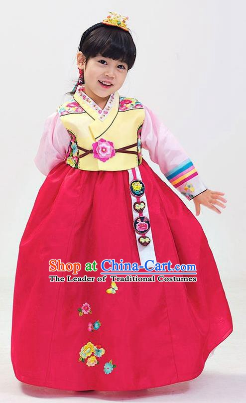 Korean Traditional Hanbok Korea Children Yellow Blouse and Rosy Dress Fashion Apparel Hanbok Costumes for Kids
