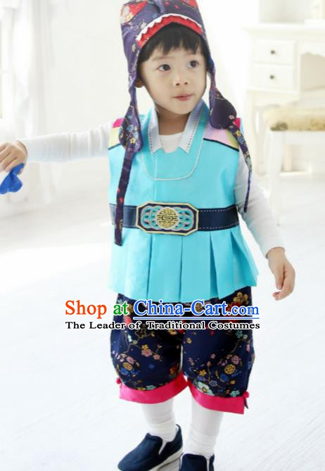 Korean Traditional Hanbok Clothing Korean Boys Hanbok Costumes Blue Shirt and Navy Pants for Kids