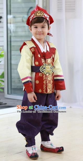 Korean Traditional Hanbok Clothing Korean Boys Hanbok Costumes Red Shirt and Purple Pants for Kids