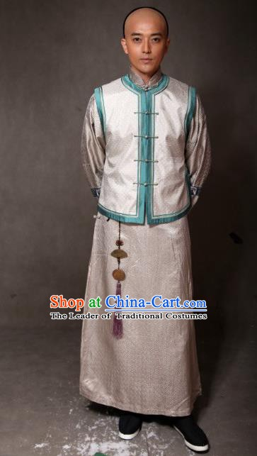 Chinese Ancient Qing Dynasty Manchu Mandarin Jacket Prince of Qianlong Costume for Men