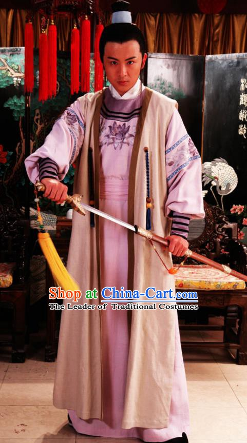 Chinese Ancient Novel Dream of the Red Chamber Aristocratic Son Liu Xianglian Costume for Men