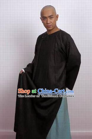 Chinese Ancient Qing Dynasty Black Robe Nobility Childe Poet Nalan Rongruo Costume for Men