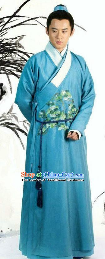 Traditional Chinese Ancient Ming Dynasty Scholar Nobility Childe Replica Costume for Men
