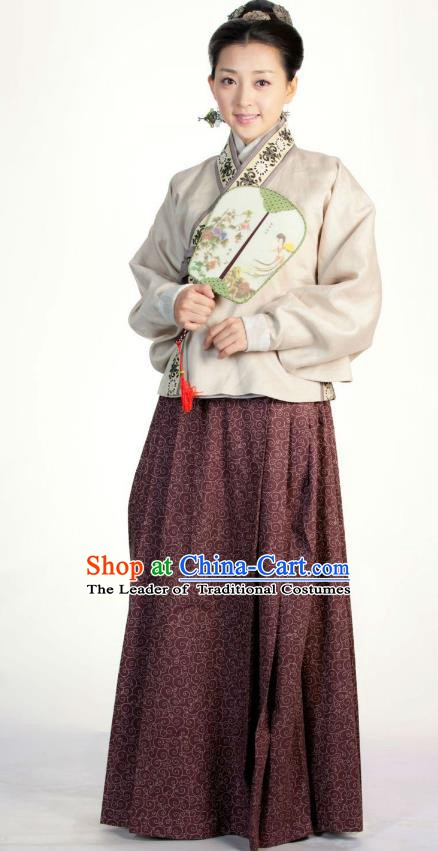 Ancient Chinese Ming Dynasty Historical Costume Female Embroider Brown Replica Costume for Women