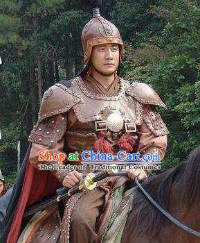 Chinese Ancient Ming Dynasty First Emperor Zhu Yuanzhang Helmet and Armour Replica Costume for Men