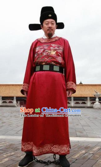 Chinese Ancient Ming Dynasty Minister Official Replica Costume Red Gwanbok for Men