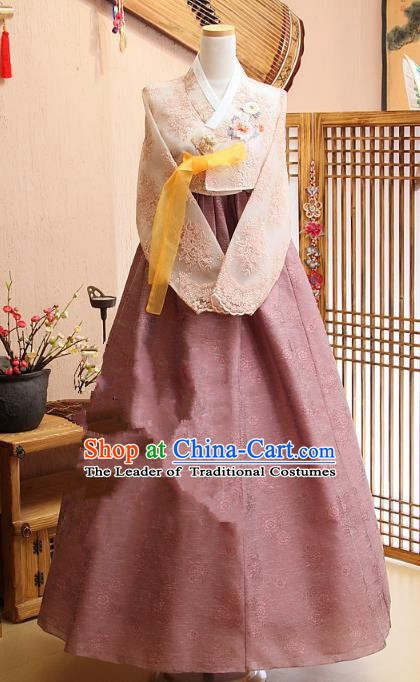 Top Grade Korean Bride Traditional Palace Hanbok Blouse and Lace Dress Fashion Apparel Costumes for Women