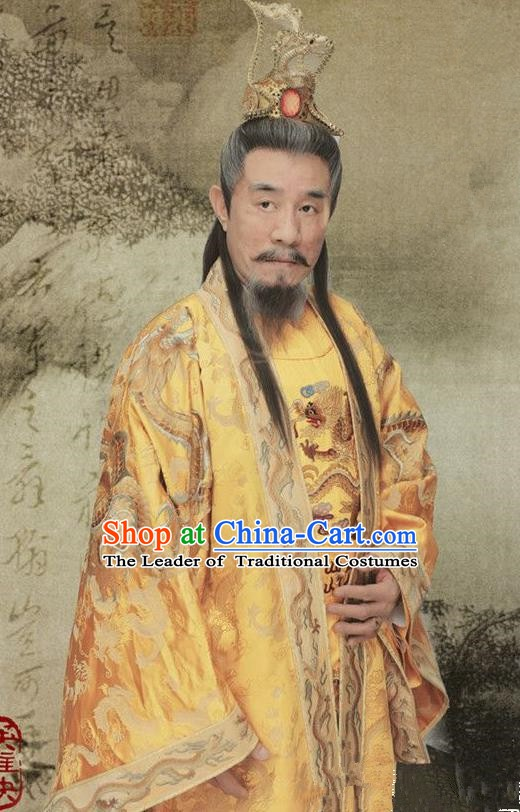 Chinese Ancient Ming Dynasty Emperor Zhu Yuanzhang Replica Costume Embroidered Imperial Robe for Men