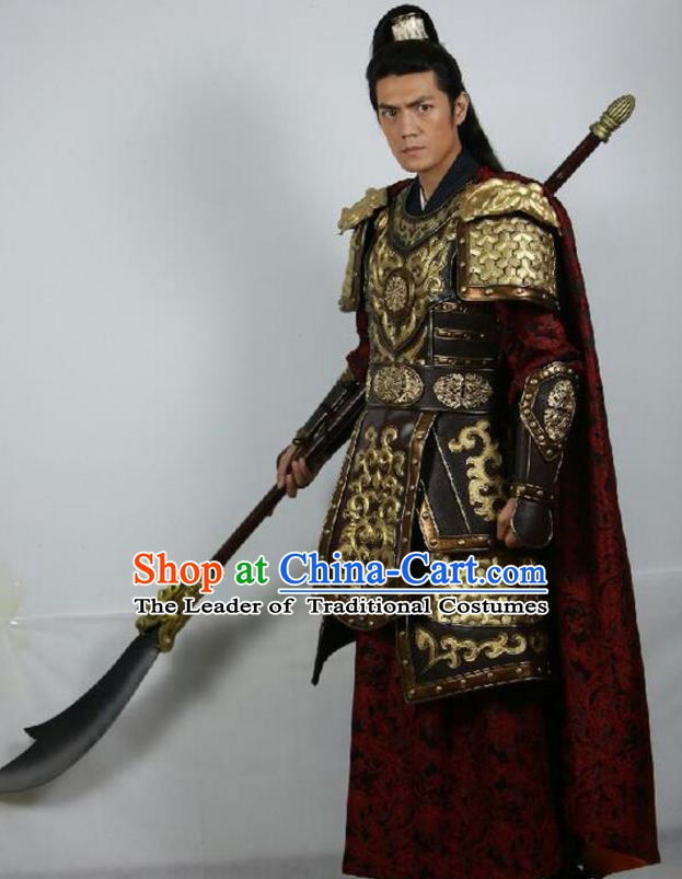Chinese Ancient Chen Han Regime Marshal Generalissimo Chen Youliang Replica Costume Helmet and Armour for Men